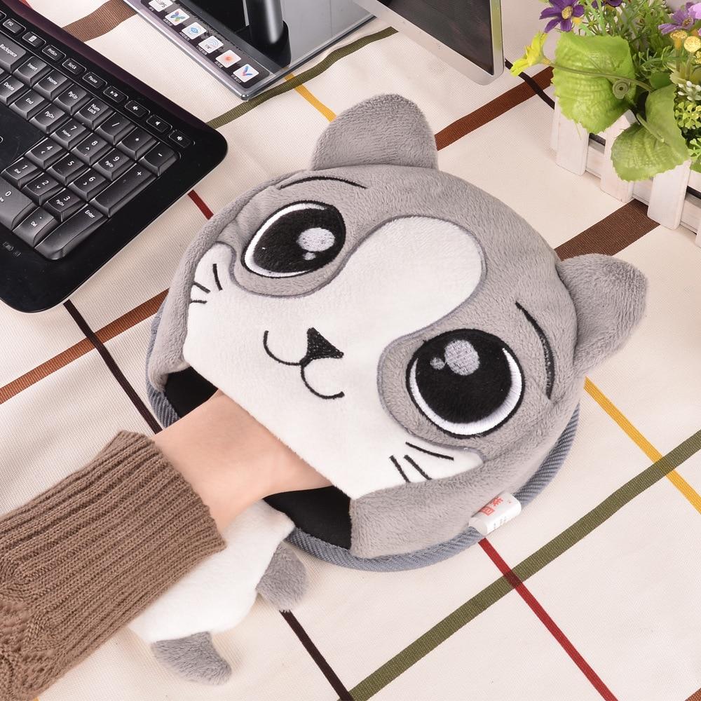 Cojín de ratón cálido de invierno Grueso de dibujos animados de felpa Mano calentador Ratón calefactado Puerto USB con guardamuñecas