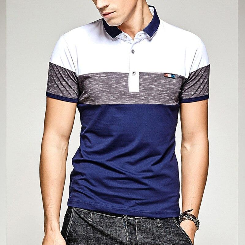 e1c93923f7 Algodão verão de manga curta camisa polo dos homens casuais slim fit tarja  respirável macio branco azul camisas masculinas