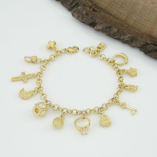 Whole 18k Gold Plated 13 Charms Woman Bracelets Fashion Jewelry