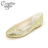 Sparkling 3D Glitter Woman Flats Shoes Golden Silver Black Party Wedding Fashion Shoes Pointed Slip On