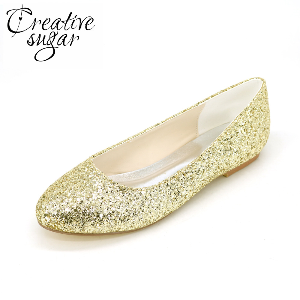 Creativesugar Sparkle 3D glitter woman flats Gold silver black party wedding fashion pointed toe slip on rubber sole bling shoes creativesugar pointed toe d orsay ankle