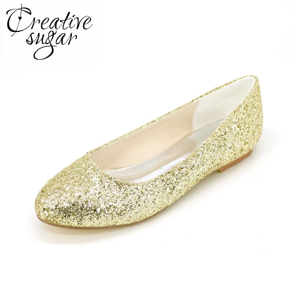 Creativesugar Sparkle 3D glitter woman flats Gold silver black party wedding fashion pointed toe slip on rubber sole bling shoes creativesugar fashion woman pointed toe