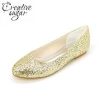 Creativesugar Sparkle 3D אישה נצנצים הבוהן מחודדת אופנה חתונה מסיבה שחורה כסף זהב דירות להחליק על נעלי סוליית גומי בלינג