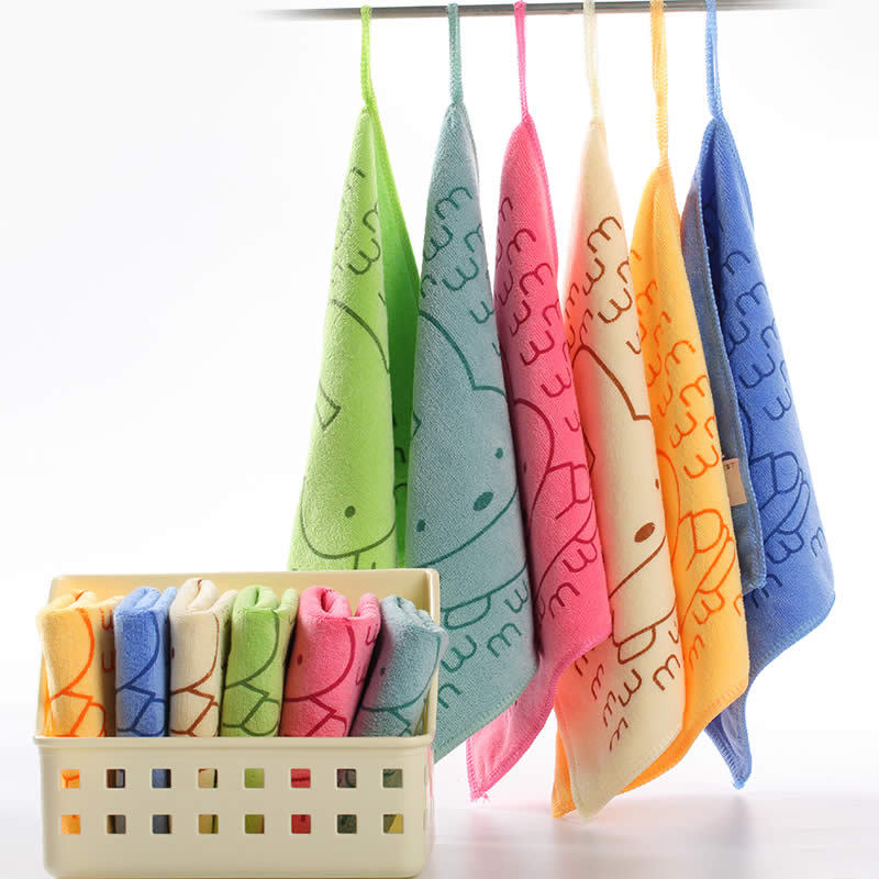 25X25CM 5PCS/Lot Microfiber Baby Towel Printing Baby Wipes Absorbent Washcloth For Children Baby Comfort Towel For Hand Bebe