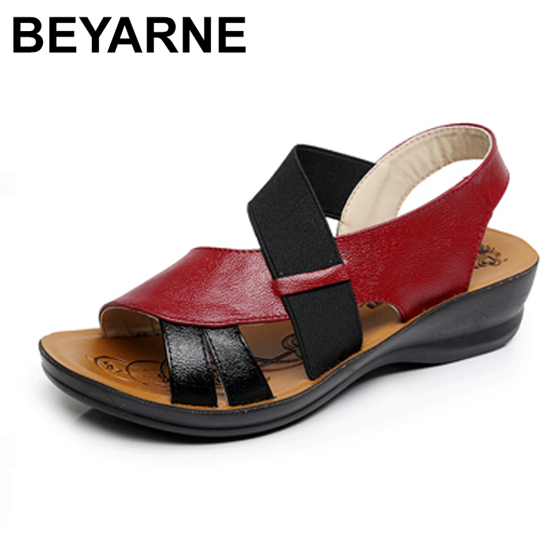 BEYARNE Summer New Woman Soft bottom middle-aged Sandals Fashion comfortable mother sandals leather large size women's shoes 40