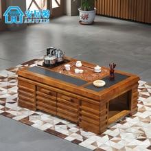 Furniture wood coffee table minimalist multifunction fire stone tea tables and chairs combination C57 teasideend