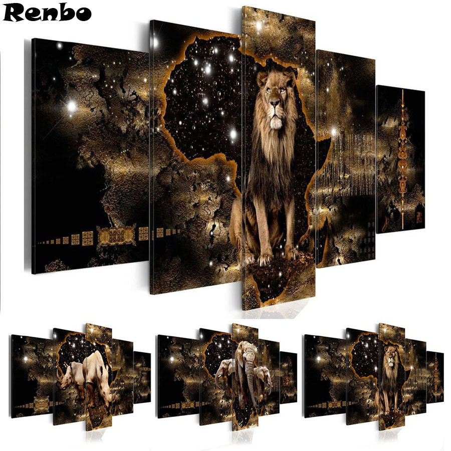 5pcs Full Square Drill 5D DIY Diamond Painting Lion elephant rhino Multi picture Combination 3D Embroidery