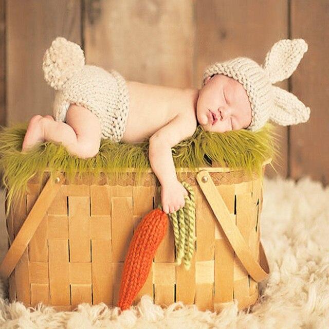 Новорожденный Фотографии Реквизит Ребенка Кролика Вязания крючком Костюм Кролика Шляпы и Пеленки Шапочки Новорожденных Наряды Вязание Крючком Аксессуары