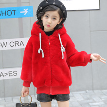 Winter Cotton Jacket Girl Big Girl Fur Sweater Coat In The Winter of 2017 New Children Short Hooded Thick Cotton Jacket