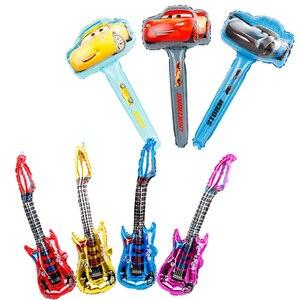 5 шт., гоночный автомобиль, ручные воздушные шарики из фольги на палочке, 3D милый автомобиль, желтый, красный, черный, товары для вечеринок, ук...