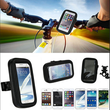 Motorcycle Bicycle  Bike Handlebar Holder Mount + Waterproof Bag Case For iPhone 5S 6 6S 7 Plus Huawei Samsung Mobile Phone