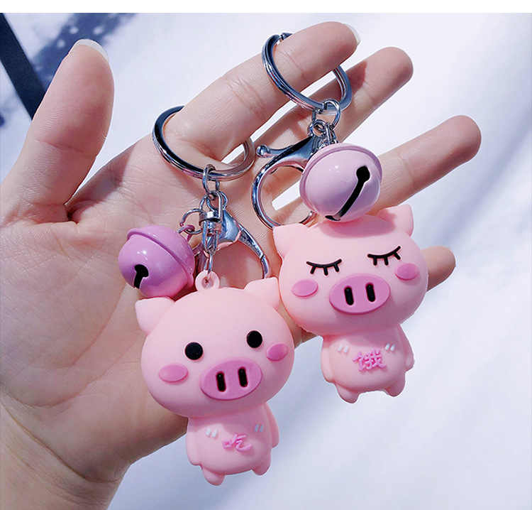 Cute Cartoon Baby Pig Piggy Animal  Keychain Key Chain Women Leather Rope Toys Trinkle Kids Key Ring Chains Car Bag Charm D209