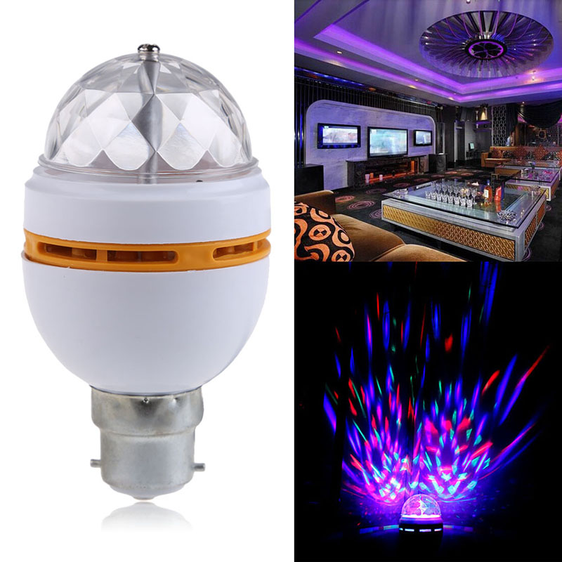 Newest B22 3W RGB Crystal Ball Rotating LED Stage Light Bulbs Disco Lamp HR