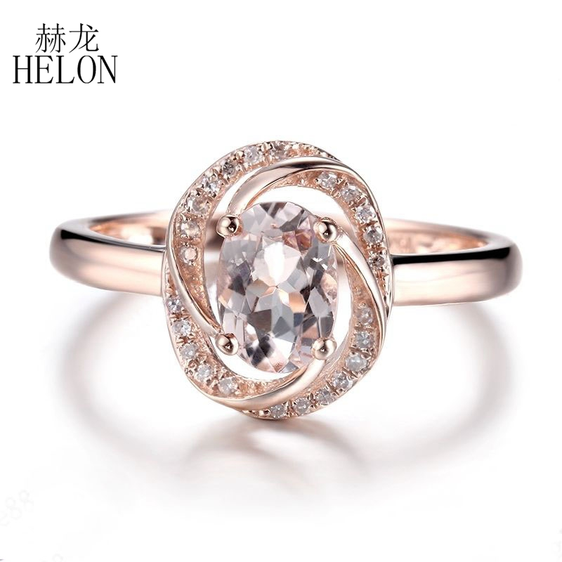 HELON Solid 10K Rose Gold Oval 7x5mm Pink Morganite Natural Diamonds Ring Engagement Wedding Gemstone Diamonds Exquisite Ring helon solid 10k rose gold oval cut 7x5mm morganite natural diamond ring engagement wedding gemstone ring gift jewelry setting