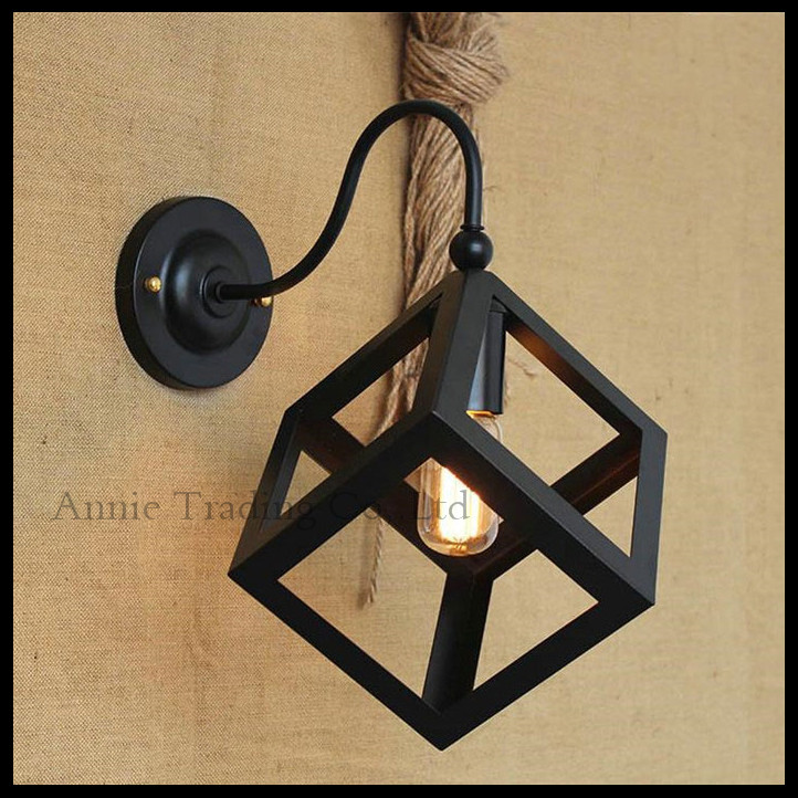ФОТО Nordic European American retro clothing store restaurant bar front stairs decorative porthole industrial wall lights cube lamp
