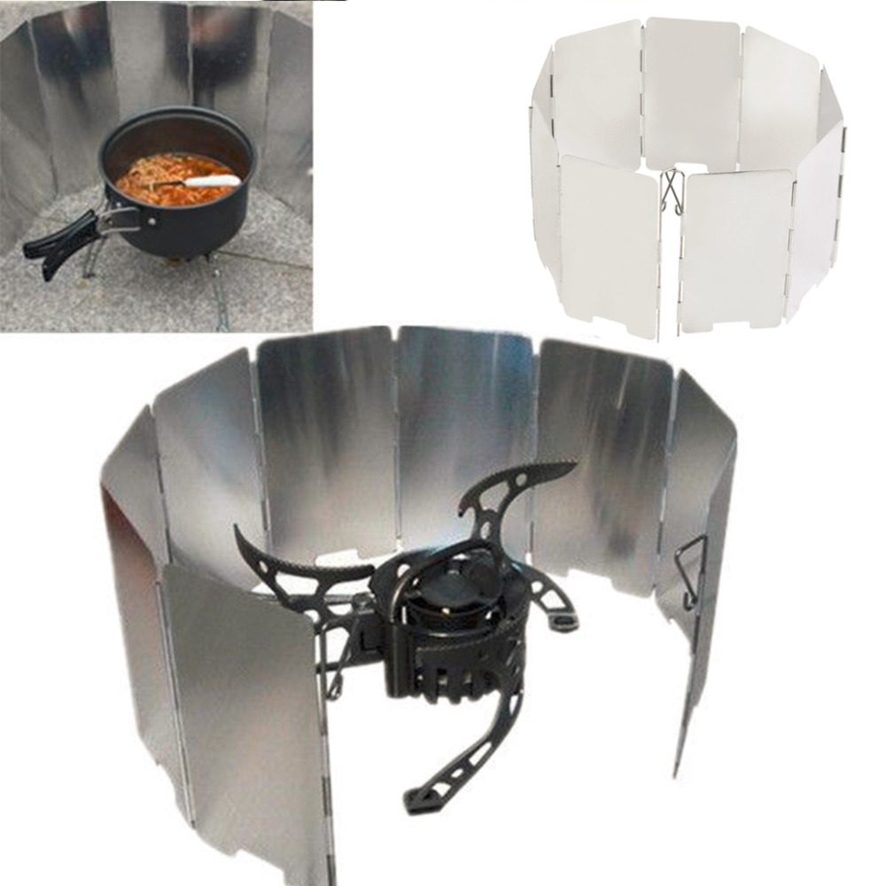 Foldable Mini 9 Plates Cooker BBQ Gas Stove Wind Shield Screen Picnic Outdoor Camping Folding Windproof Band Drop Shipping