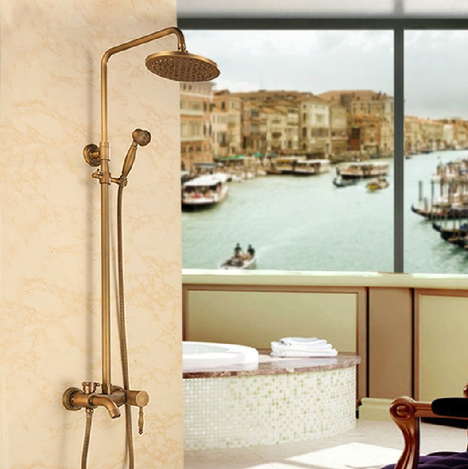Antique Soild Brass European Style Shower Set Faucet Wall Mounted Handheld Shower+Shower Hand