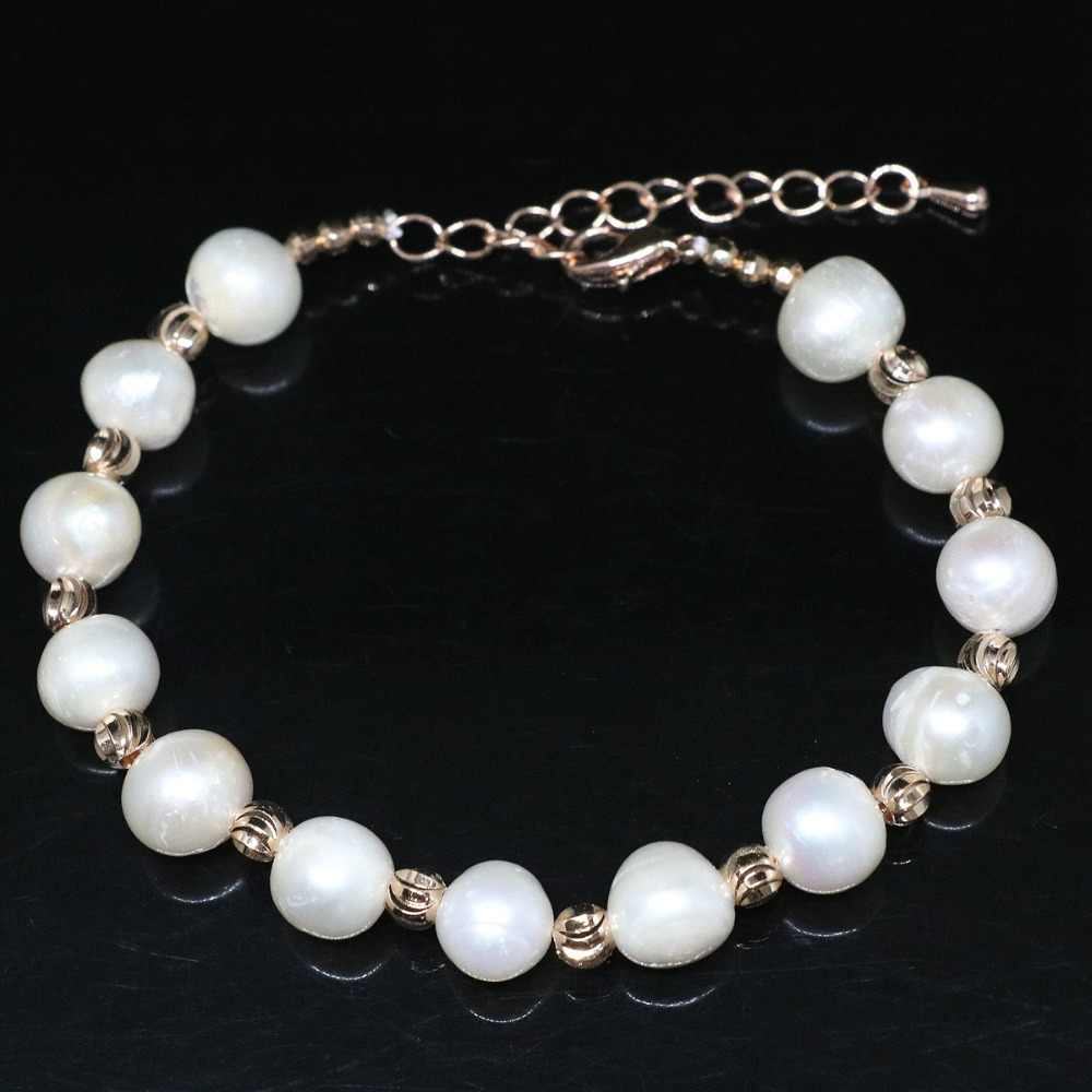 Hot sale 9-10mm natural white freshwater pearl bracelet round rose gold-color top quality accessories jewelry 7.5inch B1413