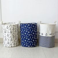 35 45cm Cotton Linen Fabric Foldable Bathroom Dirty Clothes Large Laundry Storage Buckets Bags Kids Toy