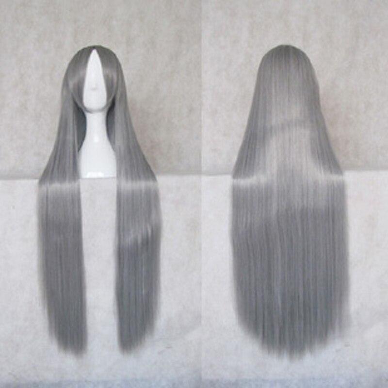 Nyaruko 1 M Sivery Grey Long Straight Synthetic Cosplay Costume Wig Hair + Wig Cap
