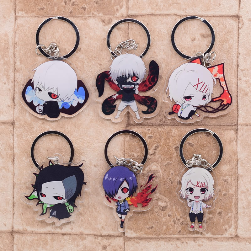 2019 Tokyo Ghoul Keychain Double Sided Key Chain Acrylic Pendant Anime Accessories Cartoon Key Ring