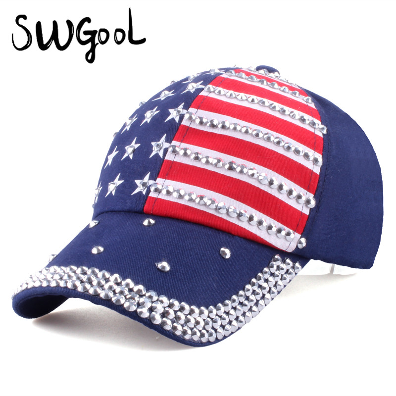 [SWGOOL] Baseball caps 2017 fashion high quality hat For men women The adjustable cotton cap rhinestone star Denim cap hat