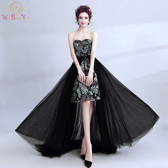 5c2beb1687f Walk Beside You Prom Dress Lace Tulle Black Turquoise Gold Embroidery  Vestidos De Graduacion Detachable Skirt Arab Evening Gown