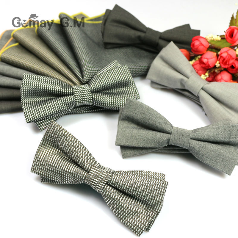 Fashion Men Bowtie and Pocket Square Sets for Suit Clasic Adjustable Adult 100% Cotton Bow ties and Hanky