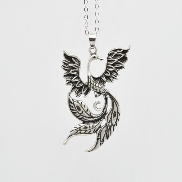 Online shop 1pcs large phoenix necklace chinese ancient fire bird 1pcs large phoenix necklace chinese ancient fire bird pendant for women inspired totem necklace jewelry ct184 mozeypictures Image collections