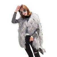 Women Fashion Long Casual Solid Genuine Mongolia Lamb Fur Vests Sleeveless Winter Warm Sheep Fur Waistcoats Real Fur Gilets