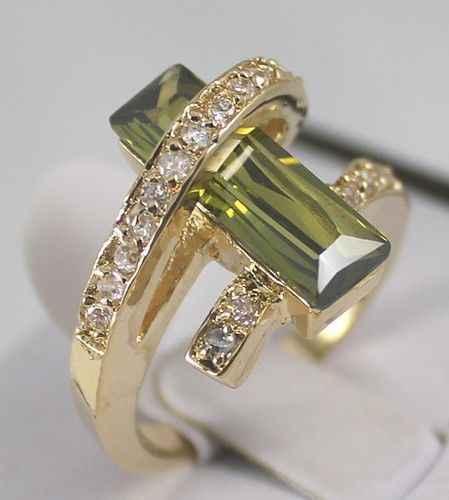 ขายส่งราคา16new ^^^^ร้อน''โกลเด้นทองGPเครื่องประดับสีเขียวมะกอกแหวนคริสตัลขนาด: 7 8 9