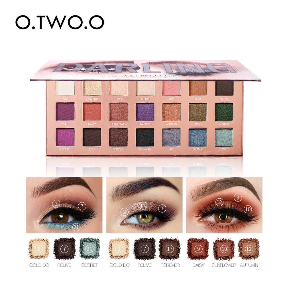 O.TWO.O Eyeshadow Palletes 21 Warna Ultra Fine Powder Berpigmen Bayangan Glitter Berlian Shimmer Makeup Eye Shadow Palet