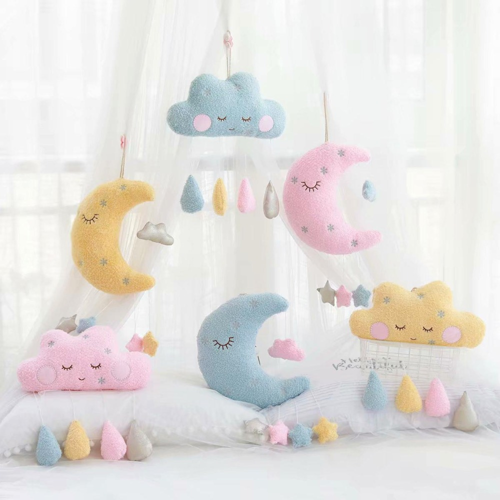 INS Cloud Moon Plush Pillow Kawaii Stuffed Plush Cloud Toy Pink Yellow Blue Baby Kids Home Decoration Birthday Gift For Girl