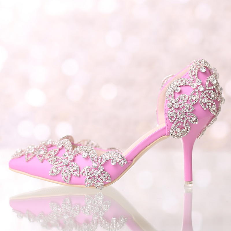 Pink pointed toe ultra high heels wedding shoes thin crystal heels bridal banquet dress shoes formal