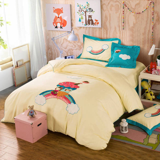 Popular Cartoon Rainbow Kids Applique Embroidered Bedding Sets Twin Full  AO49