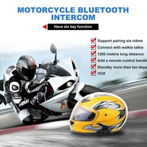 Image 5 - Ejeas e6 plus comunicador para motocicleta, 1200m, comunicador, bluetooth, interfone, fone de ouvido vox, controle remoto para 6 pilotos