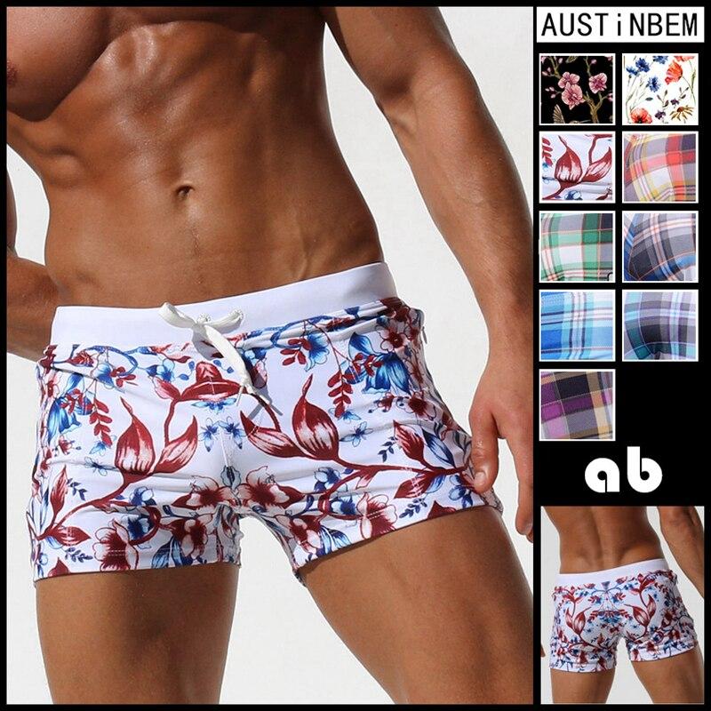 AUSTINBEM New Pocket Floral Men Swimwear Shorts Sexy Sunga Masculina Men'S Swimming Trunks Men Briefs Bathing Sport Swimsuit