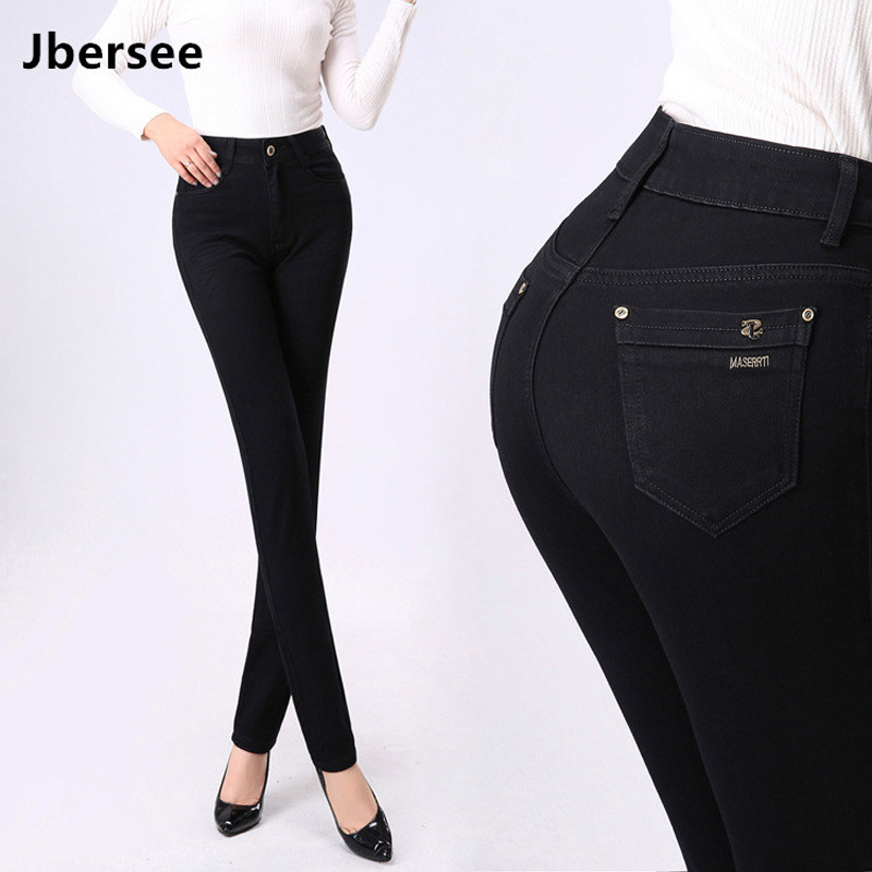Jbersee High Quality Autumn Winter Women High Waist Jeans Skinny Jeans Woman Denim Pants Plus Size Stretch Womens Jeans Yz2019 Women's Clothing Jeans