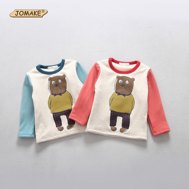 2017 New Winter Baby T Shirt Cute Cartoon Toddler Pullover Top Fleece Thick T-shirts For Boys & Girls Clothes Children Clothing