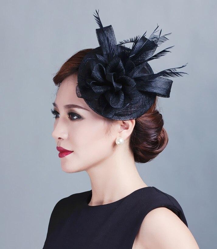 Women Sinamay Fascinator Headwear Feather Flower Hair Clip Wedding ...