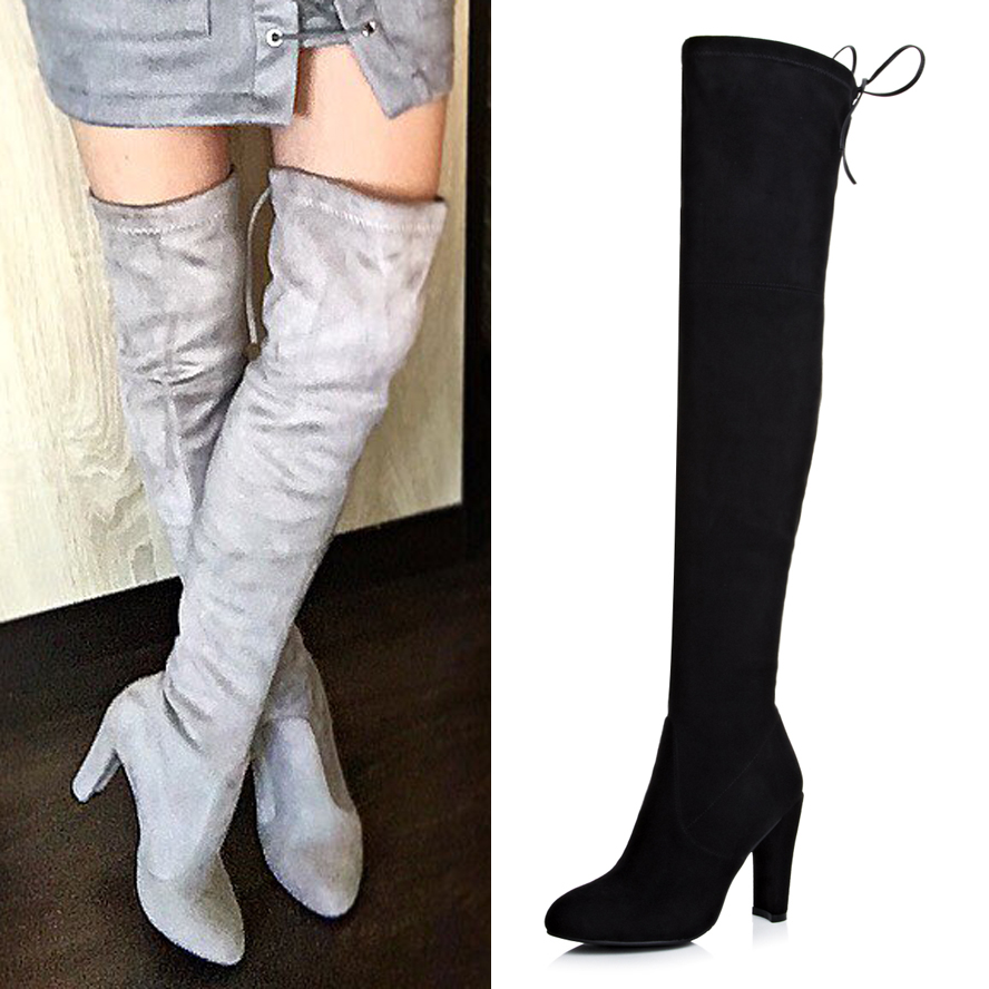 aliexpress buy faux suede stretch thigh high boots