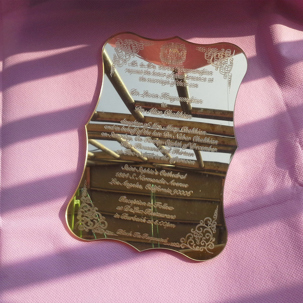 Sle Order For Golden Mirror Acrylic Wedding Invitation Card Scroll Shape Laser Engraving Letters China