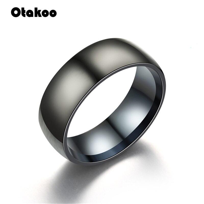 Otakoo 2018 New Black Men Ring 100% Titanium Carbide Men's Jewelry Wedding Bands Classic Boyfriend Gift 1