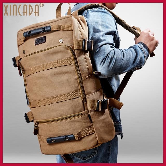 XINCADA Travel Men Backpacks Patate 55cm Trip Bag Vintage Canvas Backpack Rucksack Laptop School Back Pack Shoulder Bag Bookbag