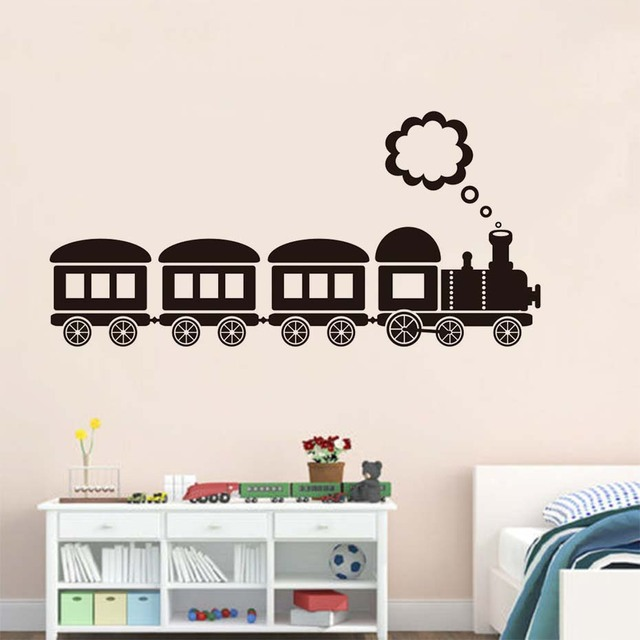 Free Shipping Cartoon Train Wall Stickers For Kids Rooms Wall Decorative  Sticker Adhesive Vinyl Wall Decals