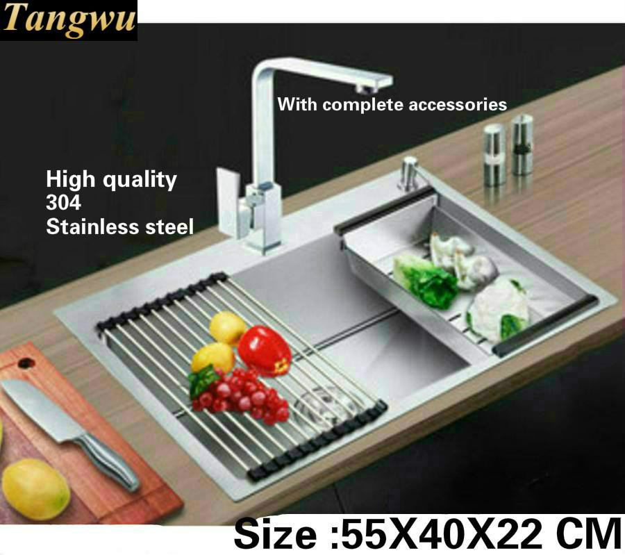 Tangwu Kitchen sink handmade 4 mm thick sturdy Food-grade 304 stainless steel single slot small 55x40x22 cm free shipping food grade 304 stainless steel hot sell kitchen sink double trough 0 8 mm thick ordinary 78x43 cm