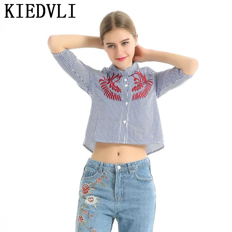 KIEDVLI Blusas Spring Atutumn Strip Shirts Women Turn-Down Long Sleeve  Embroidery Blouses Lady Fashion. US  24.50. Women s ... 8aee2bb974f5