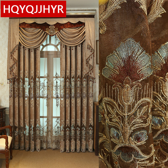 Brown custom luxury European embroidery curtains for Living Room ...