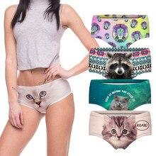 Sexy Panties 2016 Wholesale Pink 3d Print Cat Cotton Underwear Women panties Seamless Briefs ropa interior mujer  lingerie