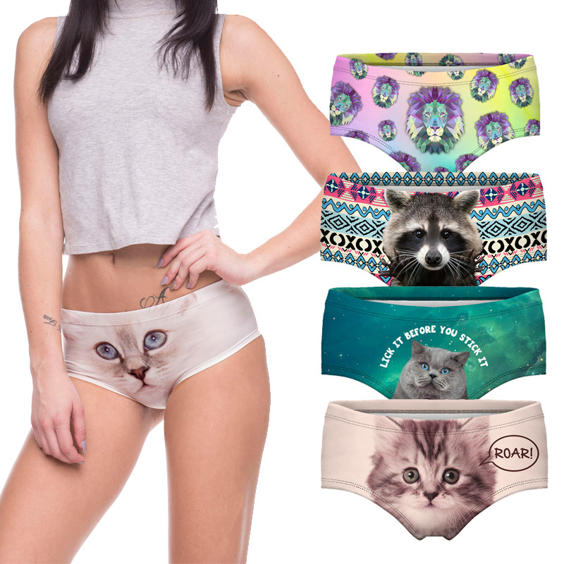 Sexy   Panties   2018 Wholesale Pink 3d Print Cat Cotton Underwear Women   panties   Seamless Briefs ropa interior mujer lingerie